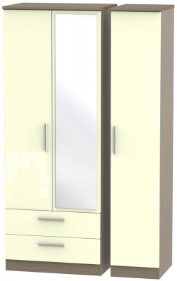 Knightsbridge 3 Door 2 Left Drawer Tall Combi Wardrobe - High Gloss Cream and Toronto Walnut