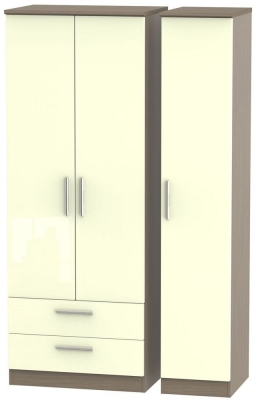 Knightsbridge 3 Door 2 Left Drawer Tall Wardrobe - High Gloss Cream and Toronto Walnut