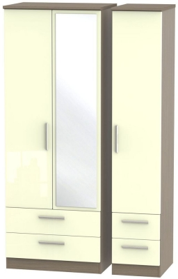 Knightsbridge 3 Door 4 Drawer Tall Combi Wardrobe - High Gloss Cream and Toronto Walnut