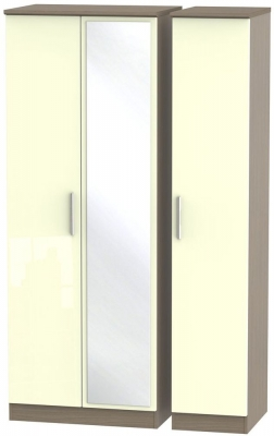 Knightsbridge 3 Door Tall Mirror Wardrobe - High Gloss Cream and Toronto Walnut