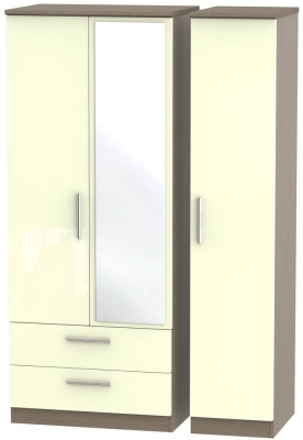 Knightsbridge High Gloss Cream and Toronto Walnut Triple Wardrobe with 2 Drawer and Mirror