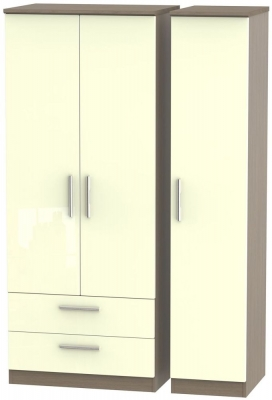 Knightsbridge High Gloss Cream and Toronto Walnut Triple Wardrobe with 2 Drawer