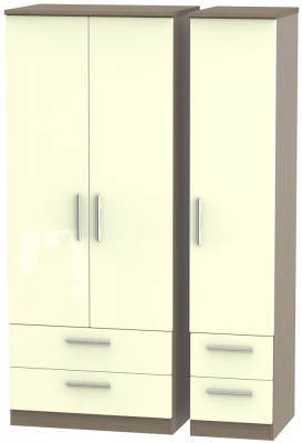 Knightsbridge 3 Door 4 Drawer Wardrobe - High Gloss Cream and Toronto Walnut