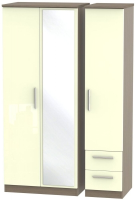 Knightsbridge 3 Door 2 Right Drawer Combi Wardrobe - High Gloss Cream and Toronto Walnut