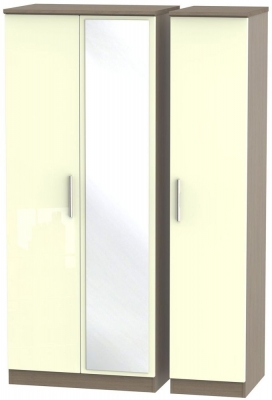 Knightsbridge High Gloss Cream and Toronto Walnut Triple Wardrobe with Mirror