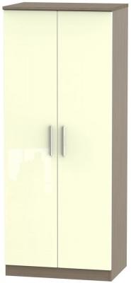Knightsbridge 2 Door Wardrobe - High Gloss Cream and Toronto Walnut