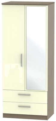 Knightsbridge 2 Door Combi Wardrobe - High Gloss Cream and Toronto Walnut