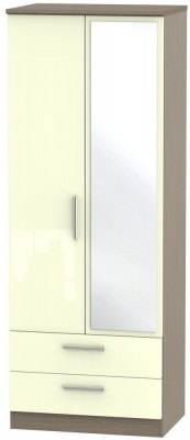 Knightsbridge High Gloss Cream and Toronto Walnut Wardrobe - Tall 2ft 6in with 2 Drawer and Mirror