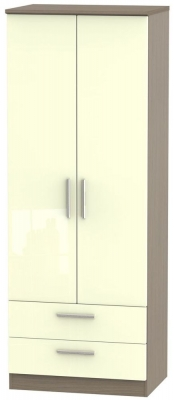 Knightsbridge High Gloss Cream and Toronto Walnut Wardrobe - Tall 2ft 6in with 2 Drawer