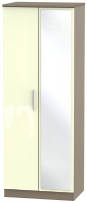 Knightsbridge 2 Door Tall Mirror Wardrobe - High Gloss Cream and Toronto Walnut