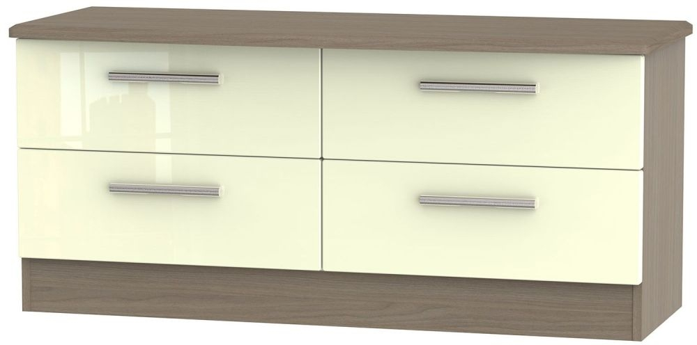 Knightsbridge High Gloss Cream and Toronto Walnut Bed Box - 4 Drawer