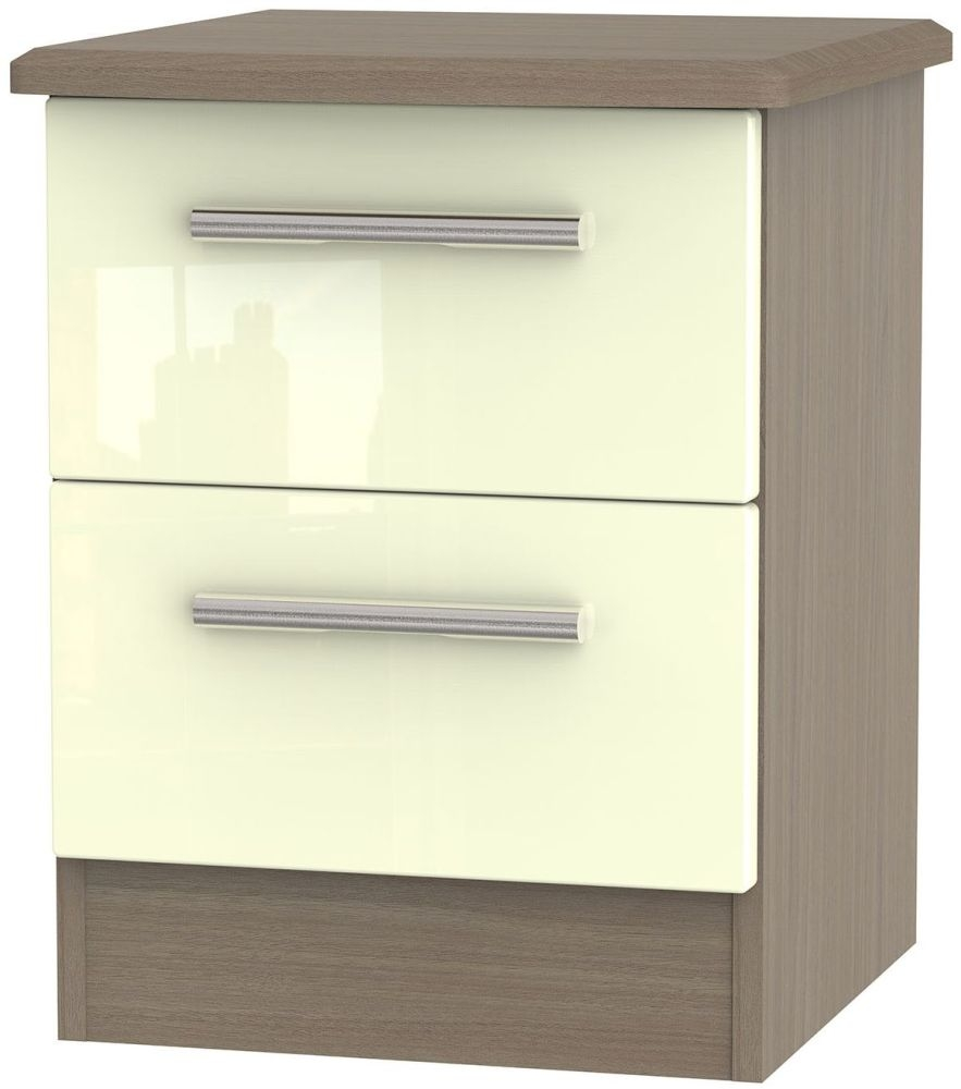 Knightsbridge High Gloss Cream and Toronto Walnut 2 Drawer Locker Bedside Cabinet
