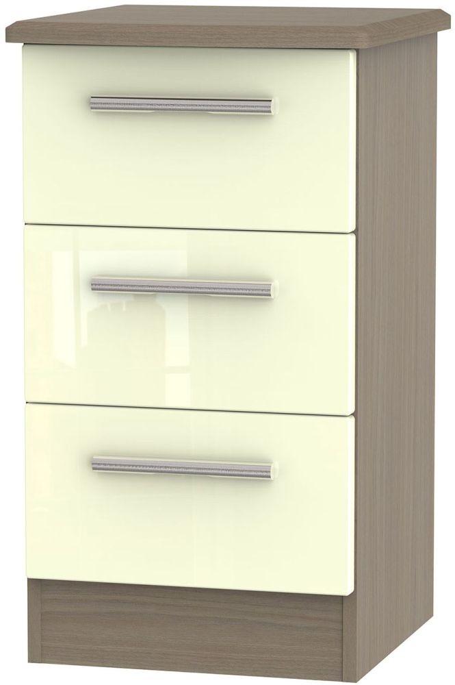 Knightsbridge 3 Drawer Bedside Cabinet - High Gloss Cream and Toronto Walnut