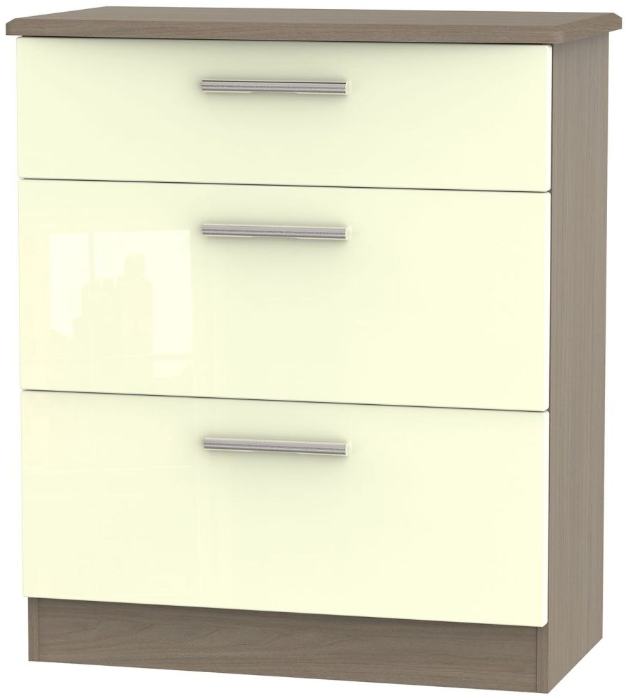 Knightsbridge High Gloss Cream and Toronto Walnut Chest of Drawer - 3 Drawer Deep