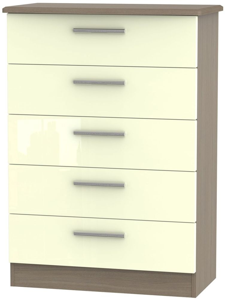 Knightsbridge High Gloss Cream and Toronto Walnut Chest of Drawer - 5 Drawer