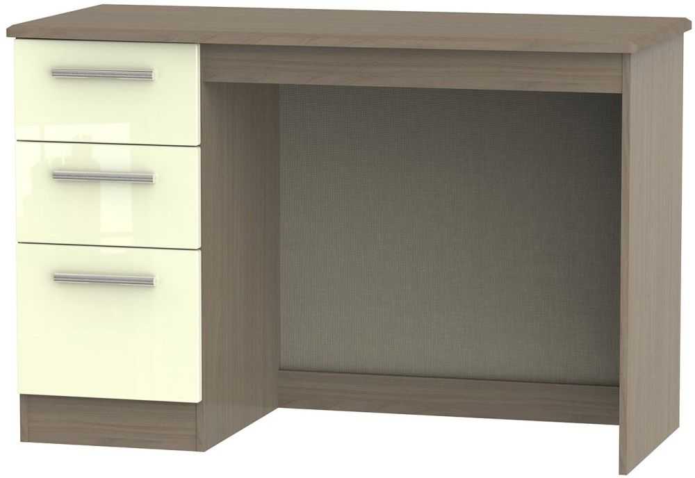 Knightsbridge High Gloss Cream and Toronto Walnut Desk - 3 Drawer