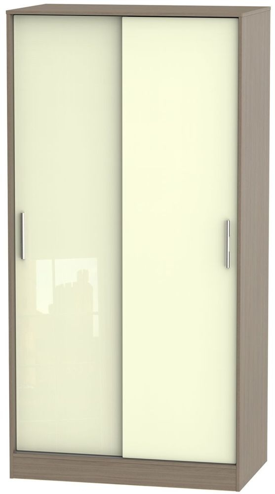 Knightsbridge High Gloss Cream and Toronto Walnut Sliding Wardrobe - Wide