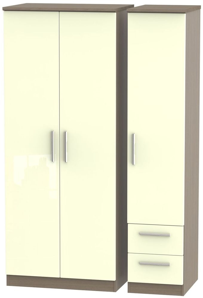 Knightsbridge High Gloss Cream and Toronto Walnut Triple Wardrobe - Plain with 2 Drawer