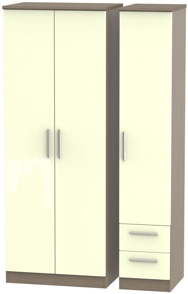Knightsbridge High Gloss Cream and Toronto Walnut Triple Wardrobe - Tall Plain with 2 Drawer
