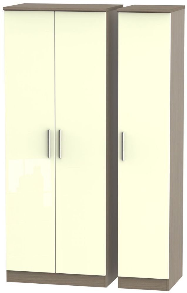 Knightsbridge High Gloss Cream and Toronto Walnut Triple Wardrobe - Tall Plain