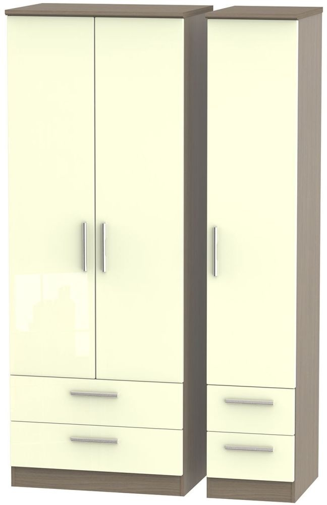 Knightsbridge High Gloss Cream and Toronto Walnut Triple Wardrobe - Tall with Drawer