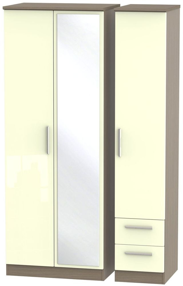 Knightsbridge High Gloss Cream and Toronto Walnut Triple Wardrobe - Tall with Mirror and 2 Drawer