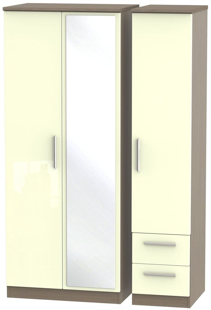 Knightsbridge High Gloss Cream and Toronto Walnut Triple Wardrobe with Mirror and 2 Drawer