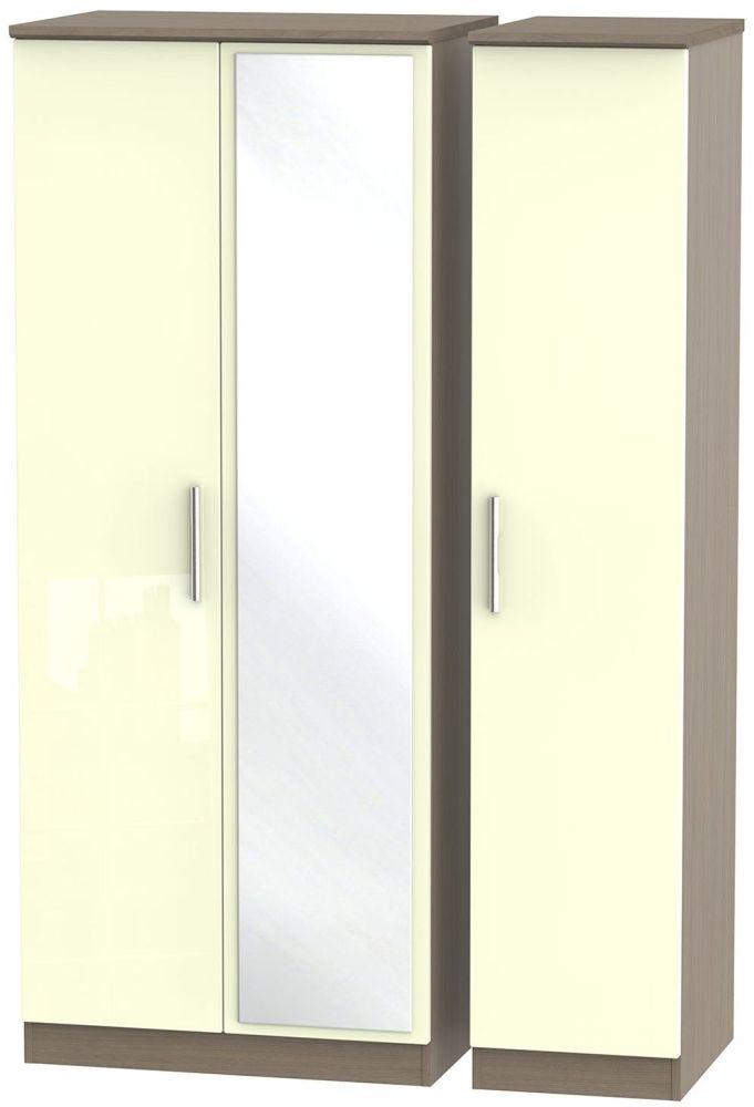 Knightsbridge High Gloss Cream and Toronto Walnut Triple Wardrobe with Mirror