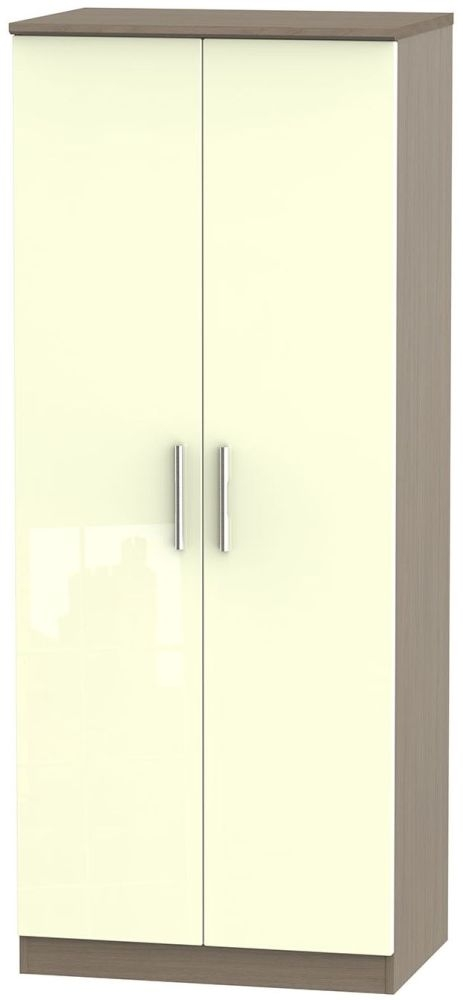 Knightsbridge High Gloss Cream and Toronto Walnut Wardrobe - 2ft 6in Plain