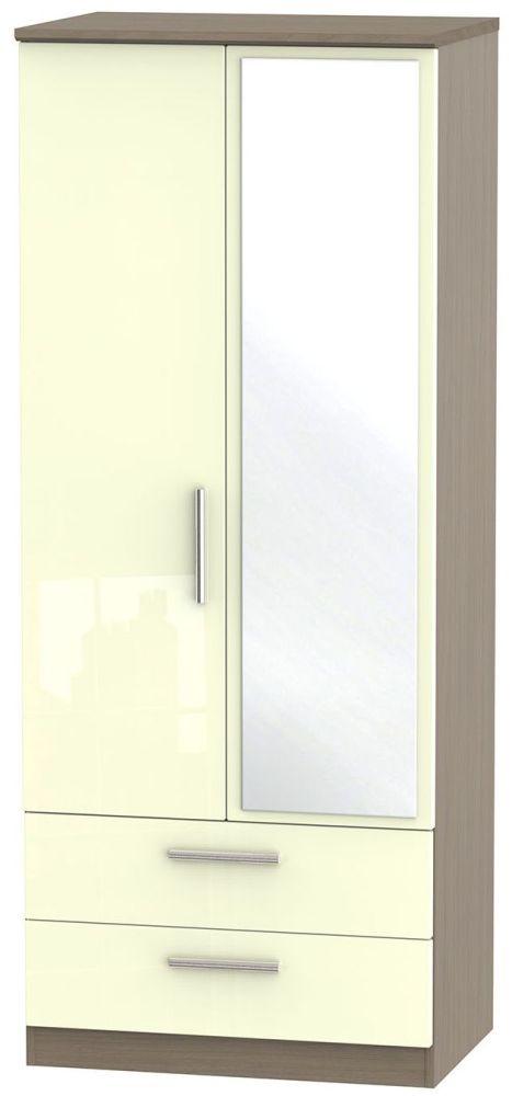 Knightsbridge High Gloss Cream and Toronto Walnut Wardrobe - 2ft 6in with 2 Drawer and Mirror