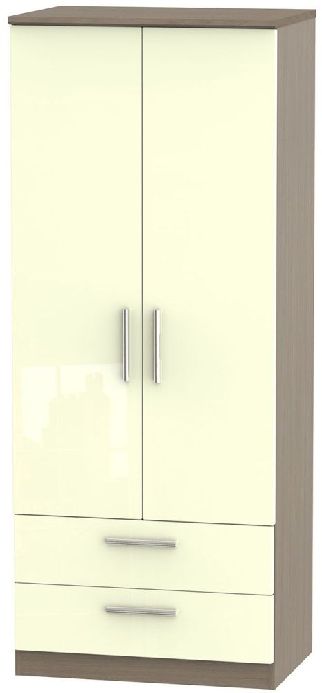 Knightsbridge High Gloss Cream and Toronto Walnut Wardrobe - 2ft 6in with 2 Drawer