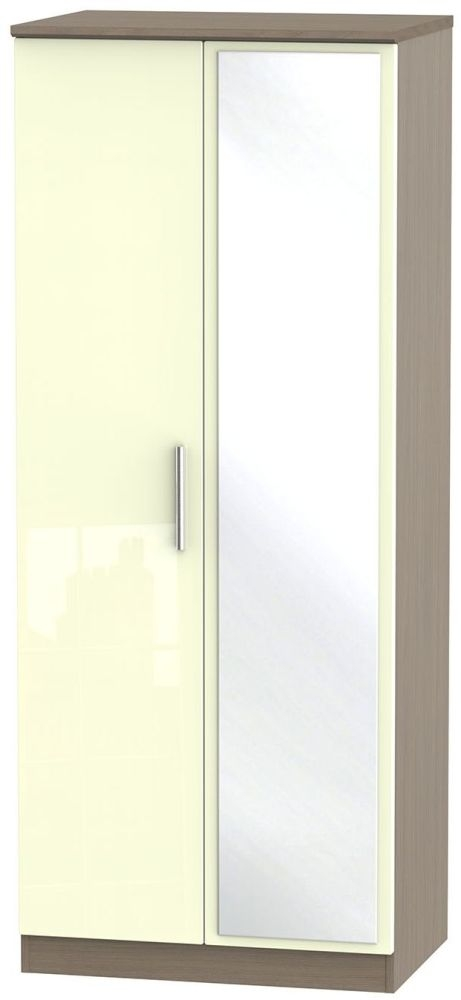 Knightsbridge High Gloss Cream and Toronto Walnut Wardrobe - 2ft 6in with Mirror