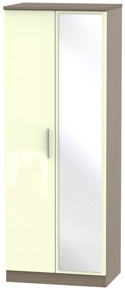 Knightsbridge High Gloss Cream and Toronto Walnut Wardrobe - Tall 2ft 6in with Mirror