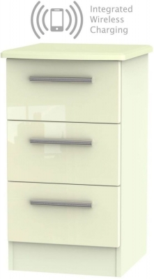 Knightsbridge High Gloss Cream 3 Drawer Bedside Cabinet with Integrated Wireless Charging