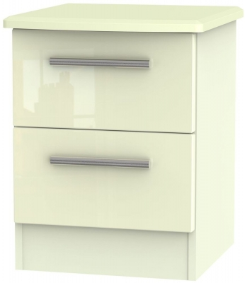 Knightsbridge High Gloss Cream 2 Drawer Bedside Cabinet