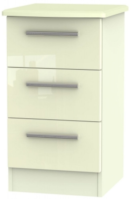 Knightsbridge High Gloss Cream 3 Drawer Locker Bedside Cabinet