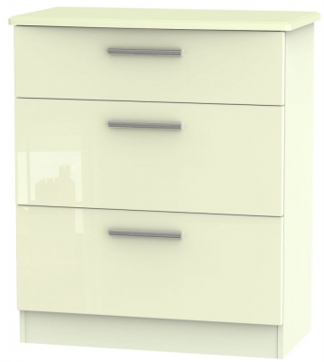 Knightsbridge High Gloss Cream 3 Drawer Deep Chest