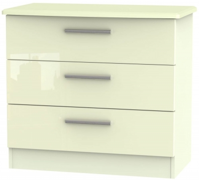 Knightsbridge High Gloss Cream Chest of Drawer - 3 Drawer