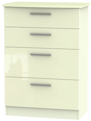Knightsbridge High Gloss Cream Chest of Drawer - 4 Drawer Deep