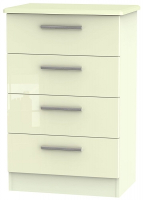 Knightsbridge High Gloss Cream Chest of Drawer - 4 Drawer Midi