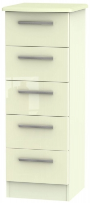 Knightsbridge High Gloss Cream 5 Drawer Tall Chest