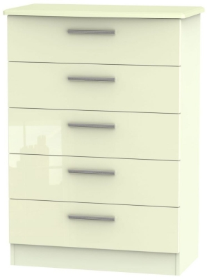 Knightsbridge High Gloss Cream Chest of Drawer - 5 Drawer