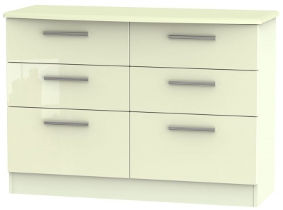 Knightsbridge High Gloss Cream Chest of Drawer - 6 Drawer Midi