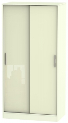 Knightsbridge High Gloss Cream Sliding Wardrobe - Wide