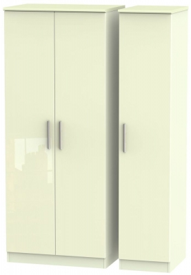 Knightsbridge High Gloss Cream Triple Plain Wardrobe