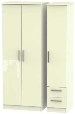 Knightsbridge High Gloss Cream 3 Door 2 Drawer Tall Wardrobe