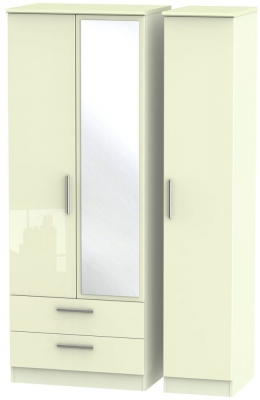 Knightsbridge High Gloss Cream 3 Door 2 Left Drawer Tall Combi Wardrobe