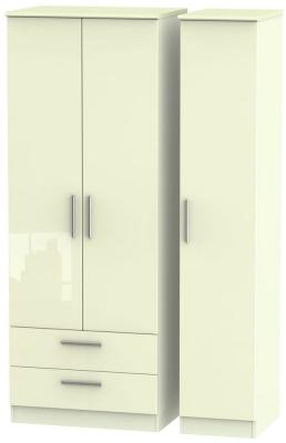 Knightsbridge High Gloss Cream 3 Door 2 Right Drawer Tall Wardrobe