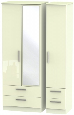 Knightsbridge High Gloss Cream 3 Door 4 Drawer Tall Combi Wardrobe