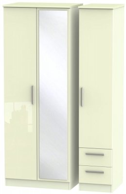 Knightsbridge High Gloss Cream 3 Door 2 Right Drawer Tall Combi Wardrobe